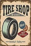 Targa in metallo 20 x 30 cm bombata Tire Shop Pneumatico Service Vintage Retro Auto Decorazione Regalo