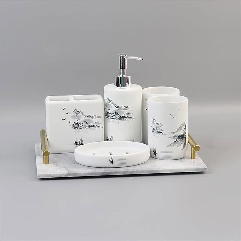 Zhuzhu Hand Soap Dispenser Ceramic Bathroom Accessories Set for