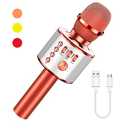 LET'S GO! Gifts for 3-12 Year Old Girls, Karaoke Microphone for Kids Wireless Bluetooth Portable Karaoke Machine for Singing Great Toys for Girls Age 3-7 Birthday for 5-12 Year Old Girls Boys