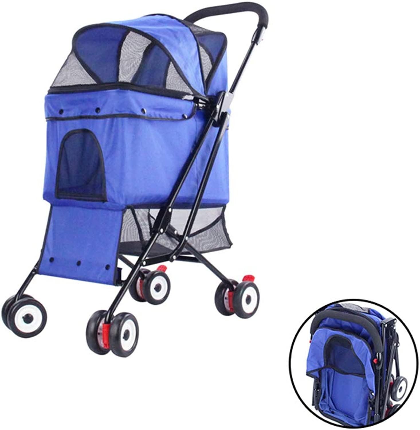 PETSUPPLY Pet Travel Stroller Cat Dog Pushchair Trolley Puppy Jogger Carrier Four Wheels,Foldable, Can Be Placed In The Suitcase,B