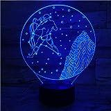 Lámpara de ilusión 3D Luz de noche LED Acuario-Nocturnal para niños con cambio de sensor 7 colores Regalo de cumpleaños y decoración navideña para dormitorio