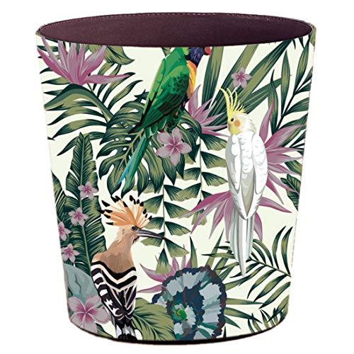 Batop Papierkorb, 10L PU Wasserdicht Europa Vintage Mülleimer, Papierkorb für Büro Wohnzimmer Küche Badezimmer Schlafzimmer