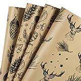 RUSPEPA Geschenkpapier Für Weihnachtsgeschenke - Braunes Kraftpapier Mit Schwarzen Weihnachtselementen Druckpapier - 4 Gefaltete Blätter - 76 cm X 1 m Pro Blatt