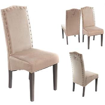 PS Global Set mit 2 Samt Esszimmerstühlen mit Klopfdetail, Esszimmer, Küche, Samt, Nieten (MINK)
