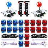 Hikig 2 Jugador USB LED Encoder para PC Juegos 8 Way Stick Controllers + 20x LED Botones para Arcade DIY Kits Partes Mame Raspberry Pi 2 3 Juegos, Color: Rojo y Azul