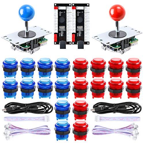Hikig 2 Jugadores Arcada Juegos Retro Kit de Piezas de Bricolaje, 20 Botones LED + 2X 8 Modos Joystick + 2X codificador USB para Mame Jamma Retropie y Otros Videojuegos, Azul y Rojo