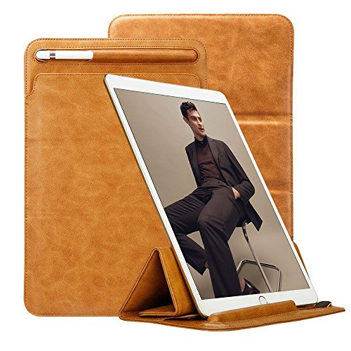 TOOVREN Trifold Case Sleeve for New iPad Air (3rd Generation) 10.5''/ iPad Pro 10.5'' 2017 / New iPad 10.2'' 2019 with Apple Pencil Holder Leather PU Slim Protective Microfiber Pouch Cover(Brown)