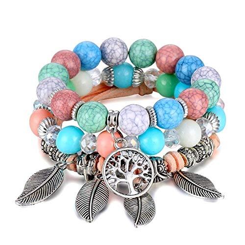 Pulsera Árbol De La Vida Pulsera para Mujer Mujer Multicapa Piedra Natural Boho Leaf Charms Beads Bracelets Set Jewelry Gift If11000621-4