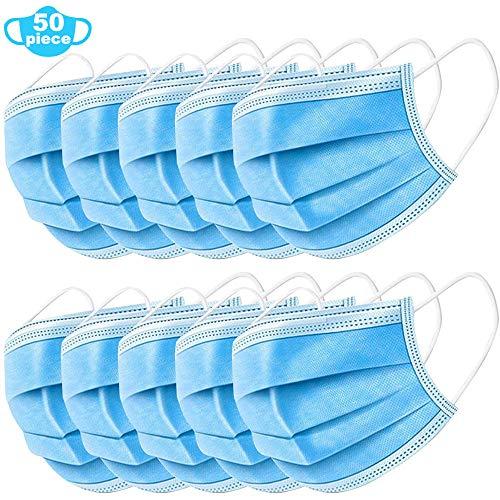 50 Stück Einweg Maske Gesichtsmaske Vlies Einwegmaske Mundschutz Staubschutz mit Ohrschlaufen 17,5 * 9,8 cm