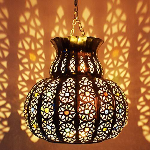 Orientalische Lampe Pendelleuchte Silber Beyla 28cm E27 Lampenfassung | Marokkanische Design Hängeleuchte Leuchte aus Marokko | Orient Lampen für Wohnzimmer, Küche oder Hängend über den Esstisch