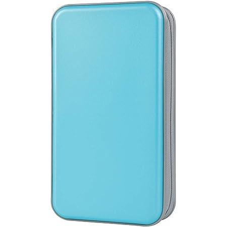 Estuche de CD, Alachi EU 96 Capacidad de plástico Duro Cremallera de Viaje Estuche de Billetera de Almacenamiento de CD (96 Capacidad, Cielo Azul)