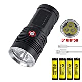 Brightest Flashlight Rechargeable High Powered Flashlight with 3pcs XHP50 LED, LUXNOVAQ 15000 Lumen USB Flashlights Waterproof Hand Torch Light with 4 Batteries & 3 Modes Best for Mens Camping Hiking