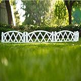 Worth Garden Valla de plástico blanco, 4 unidades, con estacas, para interior o exterior, decoración para proteger los bordes del césped o patio