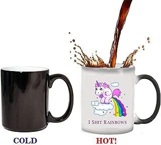 Funny Unicorn Magical Rainbows Heat Sensitive Color Change Reveal Ceramic Water Cup Coffee Mug - 11 Ounce (Unicorn)
