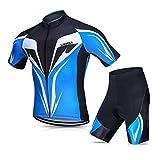 Abbigliamento Ciclismo Set Uomini Traspirante Asciugatura Veloce Confortevole Maglia Manica Corta Camicia da Ciclismo Estiva con Pantaloncini Imbottiti in gel Set Abbigliamento da Ciclismo per MTB