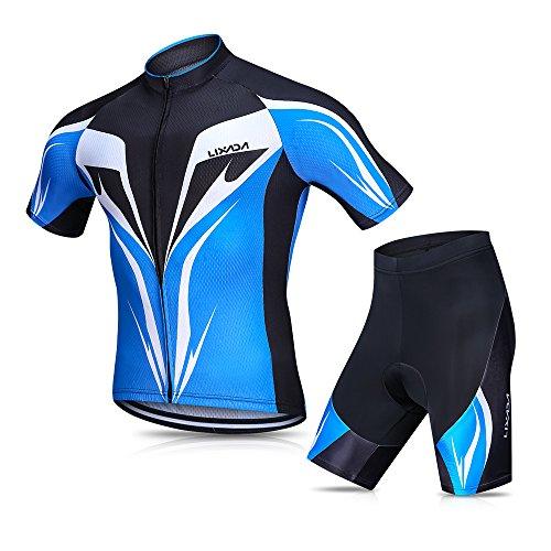 Lixada Herren Radtrikot Set, Atmungsaktiv Quick-Dry Kurzarm Radsport-Shirt + Gel Gepolsterte Shorts, (Blau, M)