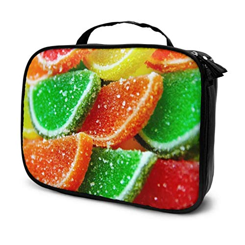 Jelly Marmalade Sweet Candy Sugar Tasty Color Travel Makeup Train Case Cosmetic Makeup Pouch Travel Cosmetic Bag Multifunction Printed Pouch for Women