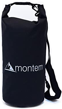 Premium Waterproof Bag/Roll Top Dry Bag - Perfect for Kayaking/Boating/Canoeing/Fishing/Rafting/Swimming/Camping/Snowboarding Crafted by Montem (Black, 20L)