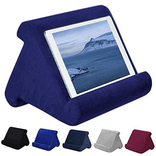 FABSELLER Soporte de Tableta de ángulo múltiple Soporte de Almohada de Lectura Suave para iPad Tabletas eReaders Smartphones Libros Revistas, Azul