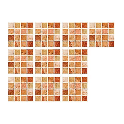 Vinilos Azulejos Adhesivos Pegatinas Baldosas - 10 Piezas Pegatinas de Baldosas de Cerámica Antideslizantes de Estilo EuropeoMosaico Retro Colores, Decorar Azulejos Muebles Cocina Baño(10x10CM)