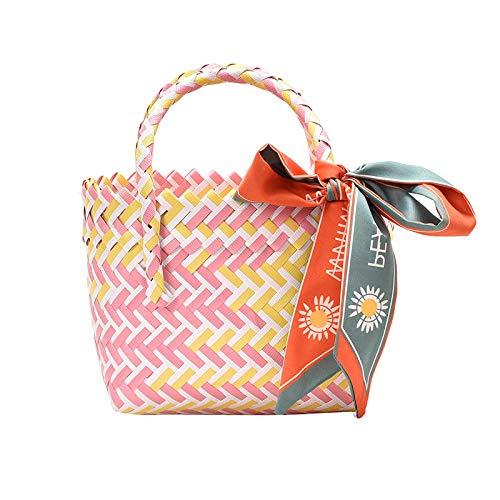 Bufandas bohemias bolsos de ratán para mujer bolsos hechos a mano de mimbre tejido pequeño totalizador cestas de playa de verano bolso de paja bolso bali a rayas 19X15X8cm-1