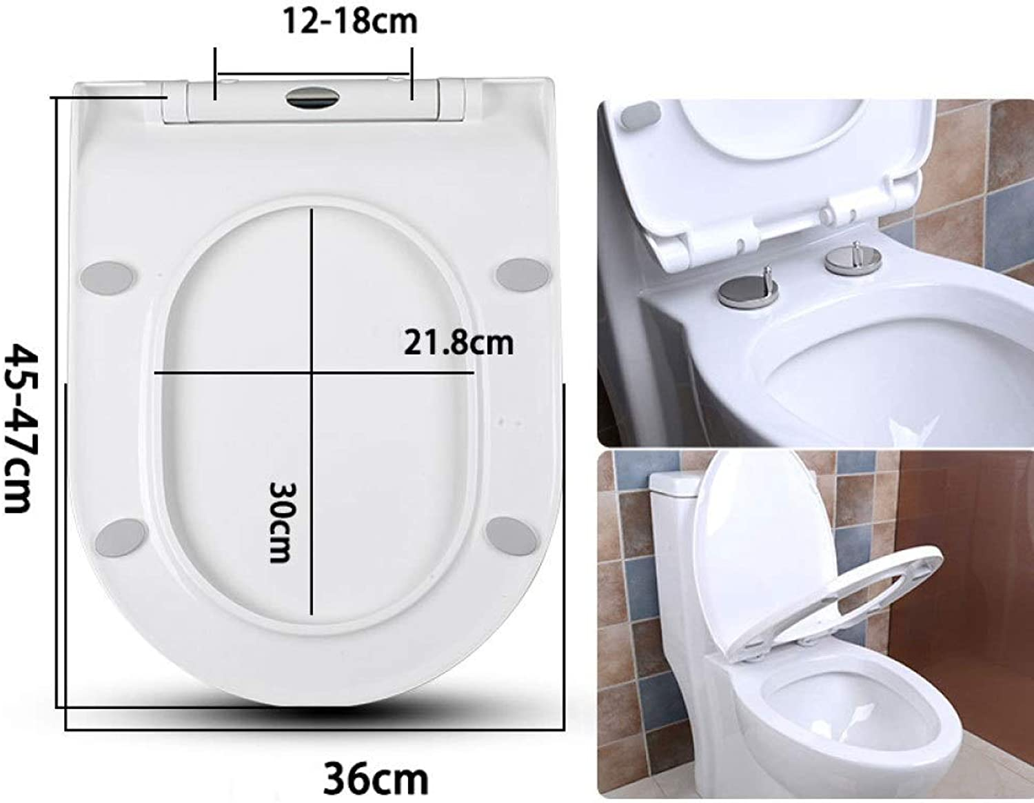 CZTC U V Shape Toilet Lid With Slow Down Ultra Resistant Top Fixed Thickened Toilet Seat Cover Bathroom Lid Family Use (Size   4547cm36cm)