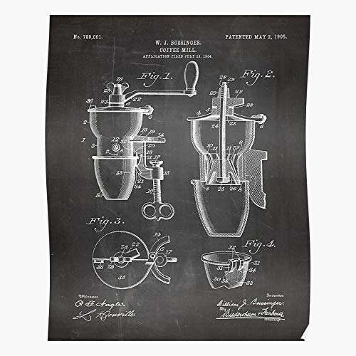 LAKO Mill Barista Shop Grinder Patent Beans Coffee Best for Home Decor Fine Wall Art Print Poster