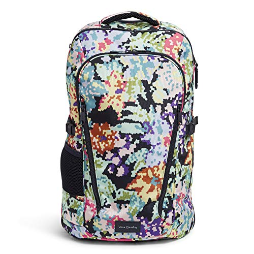 Vera Bradley Women's Recycled Lighten Up ReActive Lay Flat Travel Backpack Bag, Happy Blooms Cross-Stitch, One Size