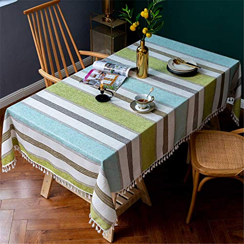 XIAOE Tablecloth Yellow-green Striped Tassel Thicken Cotton Linen Table Cover Rectangle Washable Dust Proof Cover Towel Buffet Decoration Kitchen Dinning Party Living Room 140 * 240cm