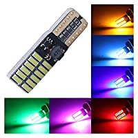 CANBUS W5W T10 24SMD 4014 LED車のナンバープレートライトクリアランスパーク電球 (Color Temperature : 10PCS, Emitting Color : Blue)