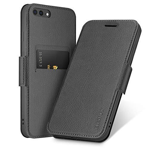 ELESNOW Funda para iPhone 7 Plus / 8 Plus, Carcasa de Cuero con Cierre Magnético y Tarjetero para Apple iPhone 7 Plus / 8 Plus 5.5' (Negro)