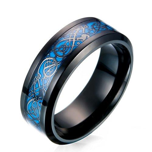 JAJAFOOK Men's 8mm Black Stainless Steel Carbide Fiber Celtic Dragon Blue Luminous Effect Ring Band Glow in The Dark Size 7-14