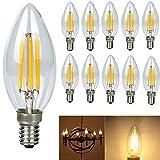 10X E14 Filamento LED Bombillas 4W 360lm Edison Bombilla LED de Casquillo E14 C35 LED Vela Bombilla (equivalente a 45W) E14 Edison LED Bulbo de luz Blanco Cálido 3000K