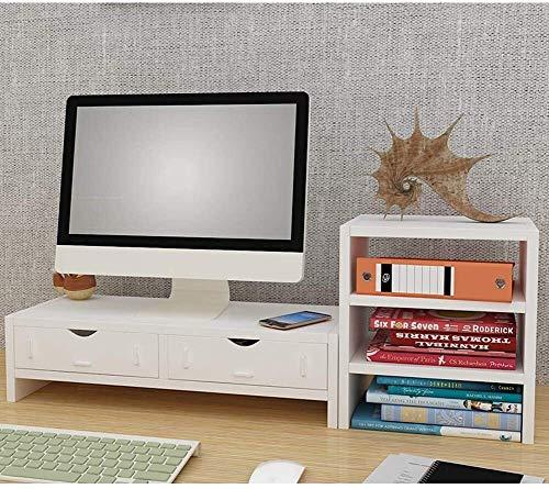 DAGCOT Ordenador portátil Tabla de Madera for Monitor de Ordenador portátil PC TV Monitor de Soporte Vertical Escritorio del Organizador del almacenaje de la Teca 2 Niveles (1 cajón)