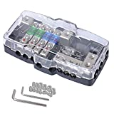 TIYANG Camper Car Audio Distribution Fuse Block with Ground Mini ANL Fuse Box Distribution Block 0/4ga 4 Way Fuses Holder 30A 60A 80Amp Red LED Indicator