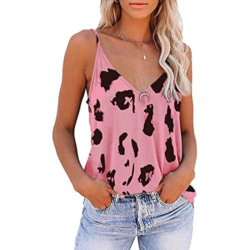 LHQ-HQ - Blusa sexy sin mangas con cuello en V y estampado de leopardo para mujer, color rosa S-5XL