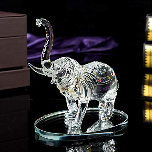 London Boutique Decorative Crystal Glass Animal Elephant Ornament Figurines Giftware Present Mother Child (Single)