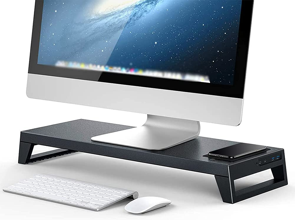 Monitor Stand Riser, PC Dock Pro/Max - Computer Monitor Screen Riser with Wireless Charging, WiFi Bluetooth Adaptor and USB 3.0 Hub Support Data Transfer, Storage Desk Organizer for Laptop Computer