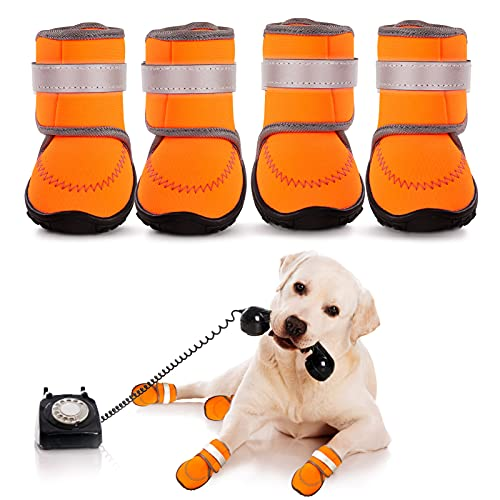 AOFITEE Dog Boots Waterproof Large Dog Shoes, Adjustable Pet Rain Booties with Rugged Anti-Slip Sole and Reflective Straps, Outdoor Dog Paw Protector for Medium to Large Dogs (Orange XXL)