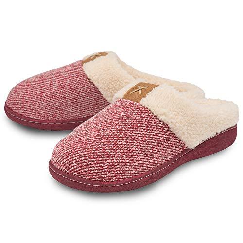 Dunlop - Pantuflas para Mujer (Espuma viscoelástica, Tallas 3-8), Color Rojo, Talla 40 EU