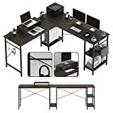"""L Shaped Computer Desk, 55"""" Modern Corner Desk with Storage Shelves & Monitor Stand for Home Office Study Writing Gaming Wooden Table Workstation, Space-Saving, Easy to Assemble - Brown"""