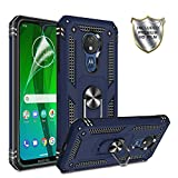 Moto G7 Power Phone Case,Moto G7 Supra Case with HD Screen Protector,Gritup 360 Degree Rotating Metal Ring Holder Kickstand Armor Anti-Scratch Bracket Cover Phone Case for Motorola G7 Power Blue