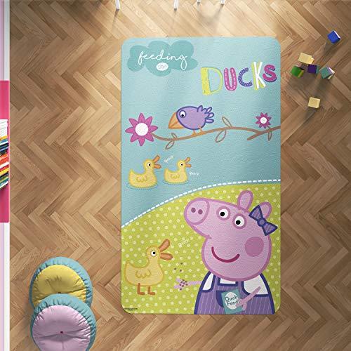 Oedim Alfombra PVC Peppa Pig Patitos | 165 x 95 cm | Producto Oficial y Original | Suelo vinílico | Decoración del Hogar | Peppa Pig |
