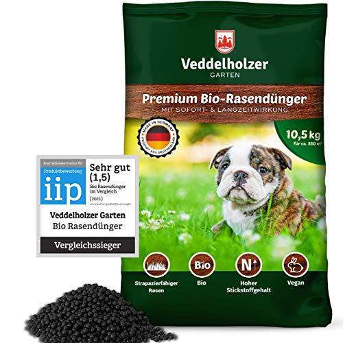 Veddelholzer VERGLEICHSSIEGER 2021 Bio Rasendünger 3 Monaten Langzeitwirkung hohem Stickstoffgehalt für Frühjahr & Sommer, staubarmes Granulat, unbedenklich für Haustiere Langzeitdünger Rasen Dünger