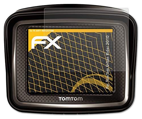 atFoliX Película Protectora Compatible con Tomtom Urban Rider 2010 Lámina Protectora de Pantalla, antirreflejos y amortiguadores FX Protector Película (3X)
