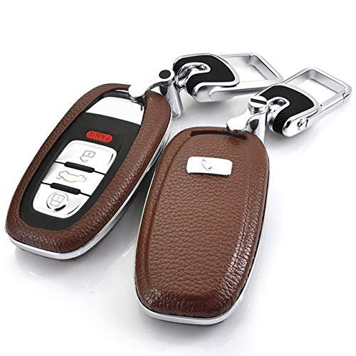 HEZHOUJI Autoschlüssel Hülle, Autoschlüsselabdeckung, Schlüsselanhänger, für Audi A4 A4l A5 A6 A6l Q5 Rs7 S7 A7 A8 Q5 S5 S6 Shell Remote Styling Zubehör, braunes Set