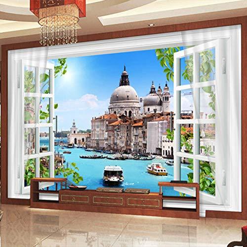 3D grote wandafbeelding fotobehang wanddecoratie gordijn Venetië stad gebouw achtergrond 350cmx245cm Lm004.