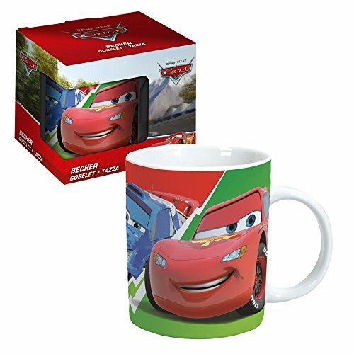 Cars Porzellan Tasse | Disney 200 ml | Henkel-Becher im Geschenk Karton