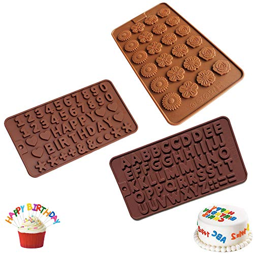 Silicone Candy Chocolate Molds 3 Pack Letter Number Flower Shape Baking Mold Cake Decorations Ice Cube Tray for Kids