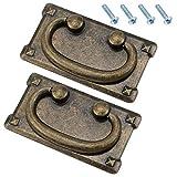 2 Tiradores de Cajón Clásicos, con Tornillos, Tiradores de Anillo de Cajón de Bronce Antiguo Vintage, Decoración Rectangular para Puertas de Armario y Puertas de Muebles